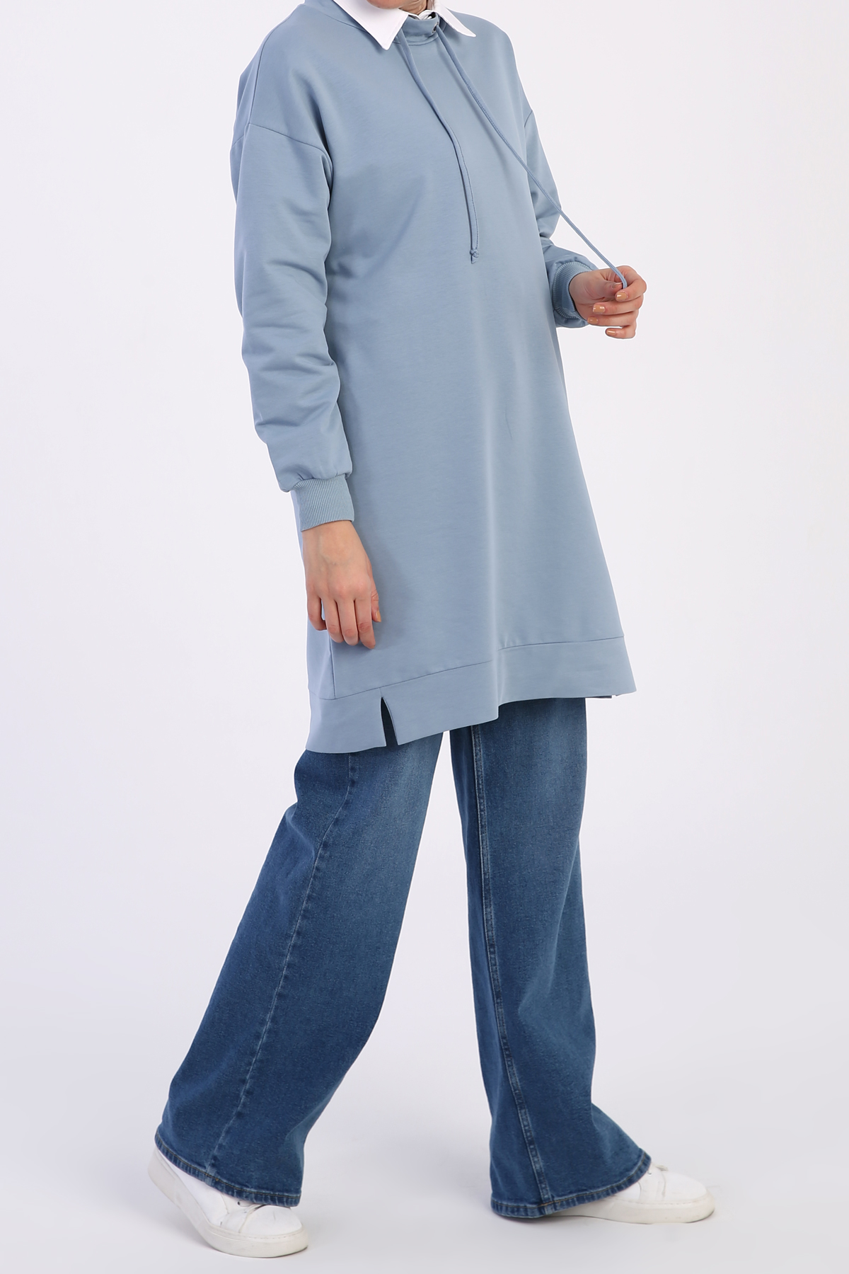Stand -away Collar Comfy Sweatshirt Tunic