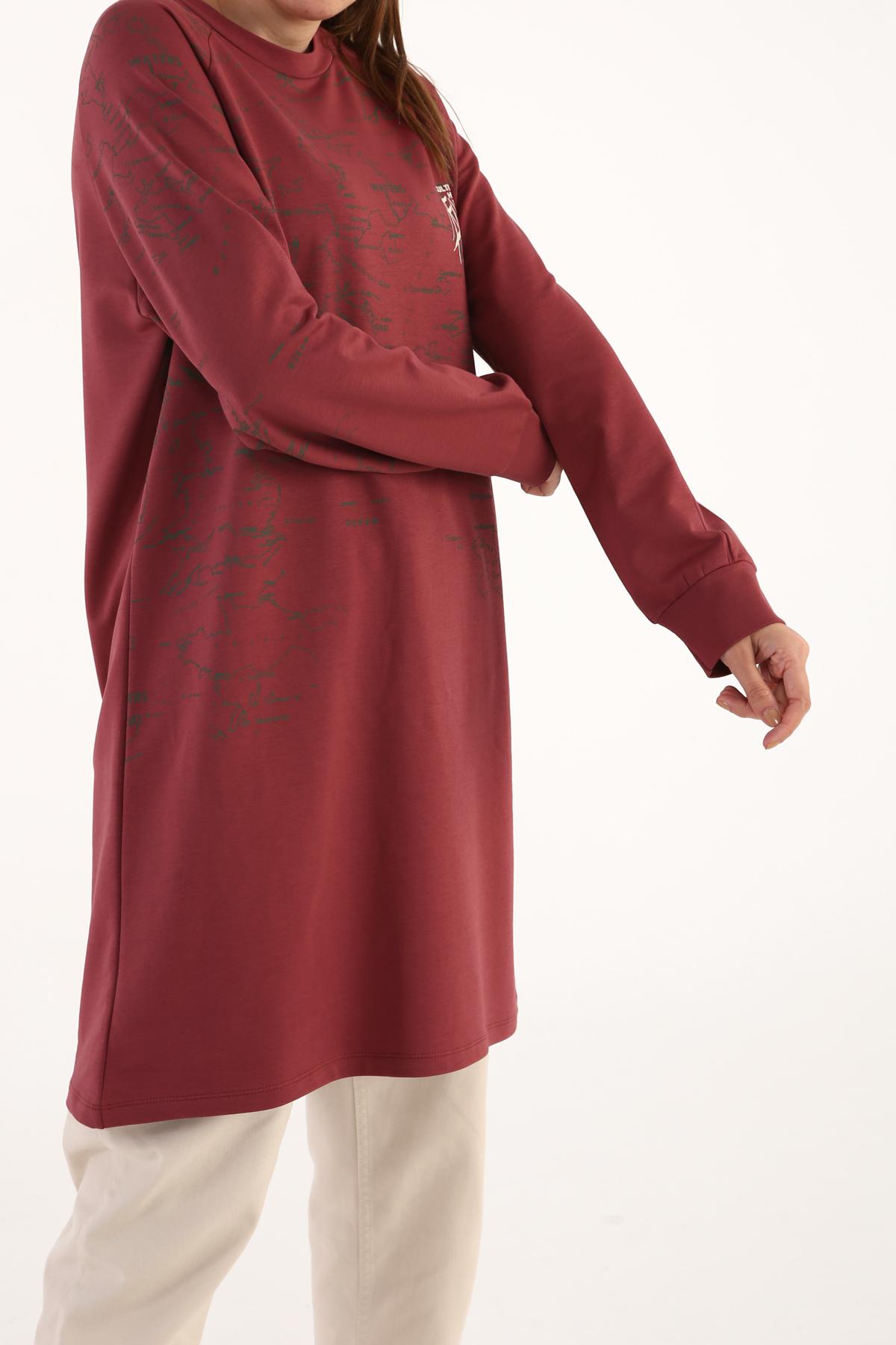 Comfy Raglan Sleeve Printed Sweatshirt Tunic
