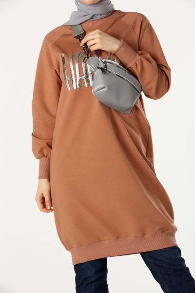 Reglan Kol Baskılı Sweat Tunik