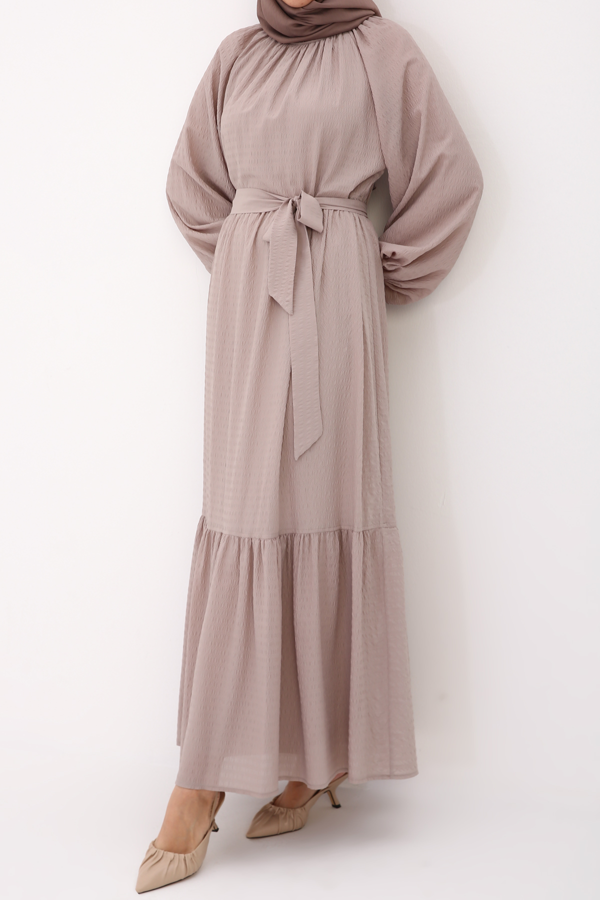 Self Belted Bishop Sleeve Ruffle Hem Maxi Dress