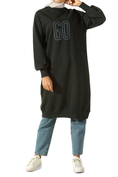 RAGLAN SLEEVE COMBED COTTON TUNIC