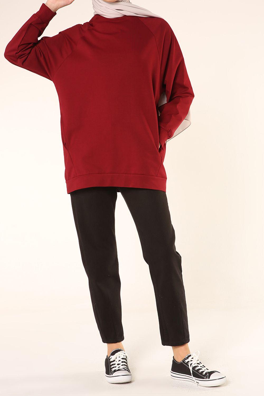 Reglan Kol Basic Fermuarlı Sweatshirt