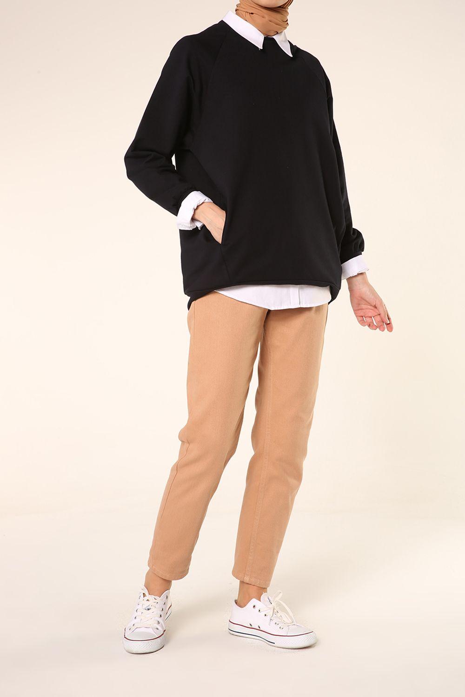 Raglan Sleeve Zippered Sweatshirt