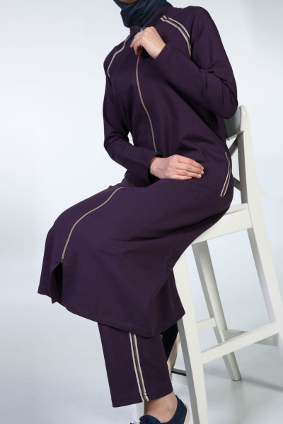 RAGLAN SLEEVE STRIPED HIJAB SUIT