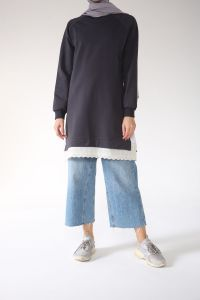 Reglan Kol Eteği Güpürlü Tunik