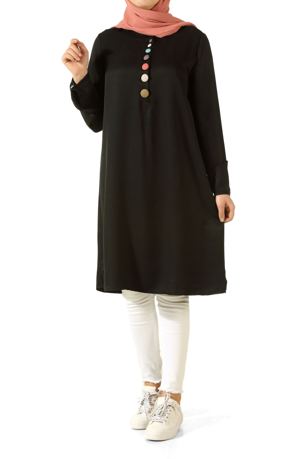 TUNIC WITH COLORED BUTTONS