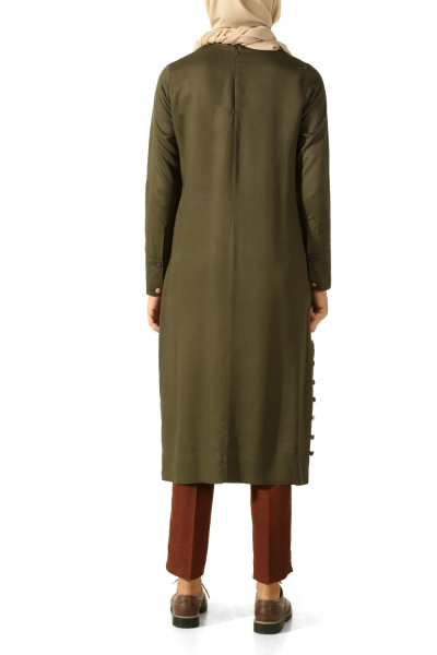 VISCOSE COLOR BUTTON TUNIC
