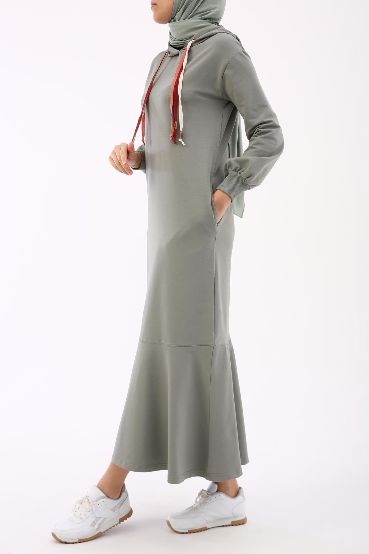 Hooded Bishop Sleeve Long Dress