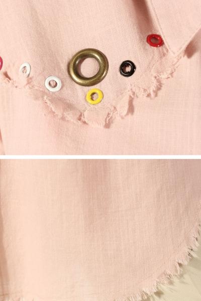 Renkli Kuşgözlü Gömlek Tunik