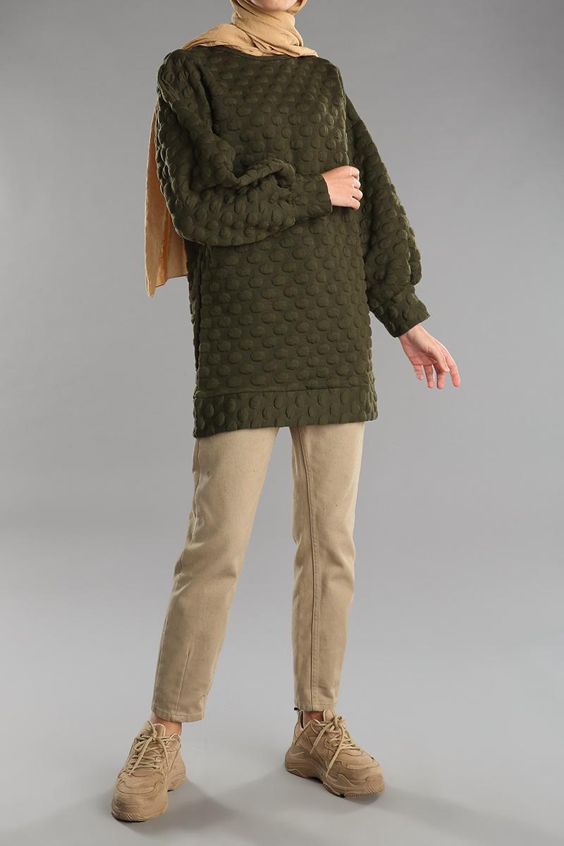 Ribanalı Ponpon Desenli Salaş Sweatshirt