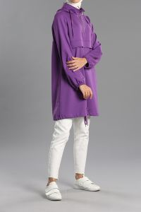 Hooded Zippered Detail Sweatshirt Tunic