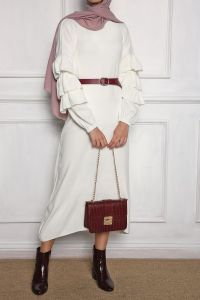 SAGA Kol Detaylı Triko Elbise