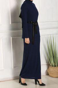 Sami Deri Kuşaklı Astarlı Triko Elbise