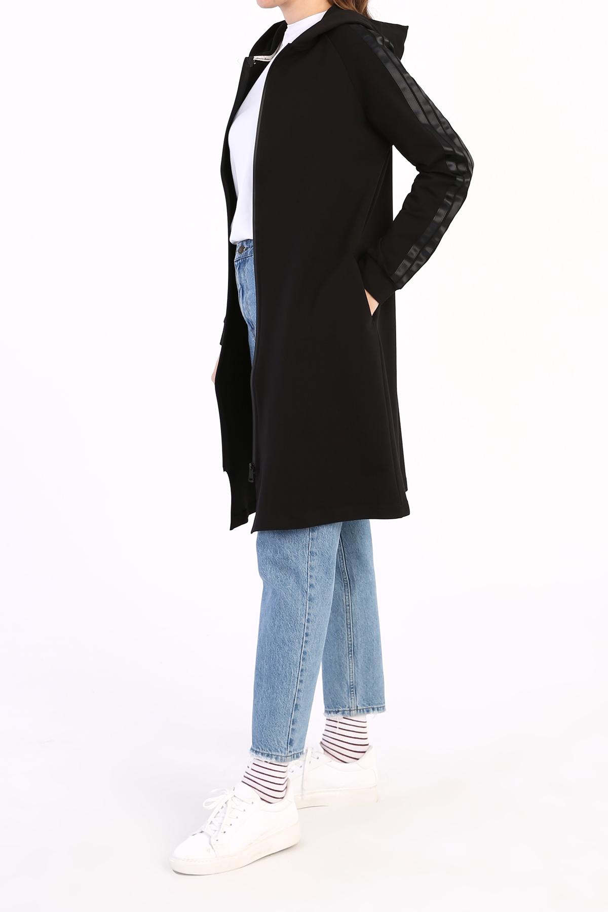 Satin Line Detailed Hooded Long Cardigan