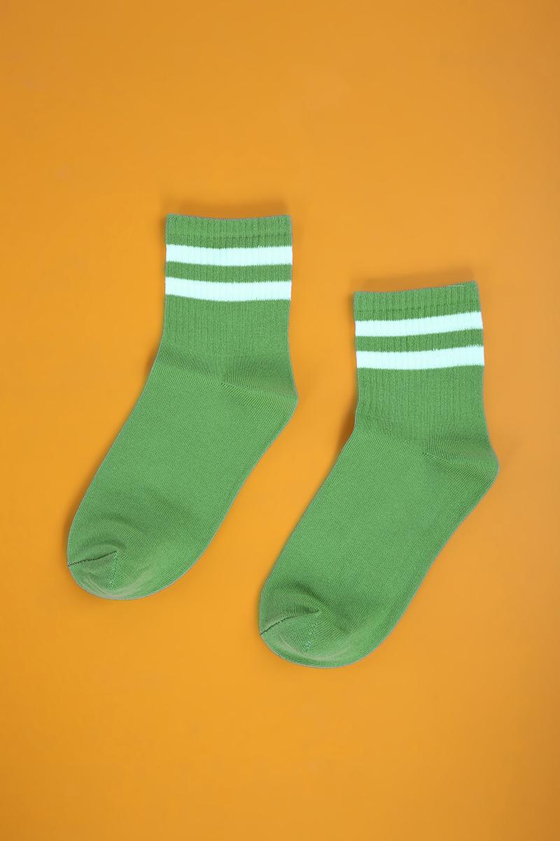 Şerit Desenli Kolej Çorabı
