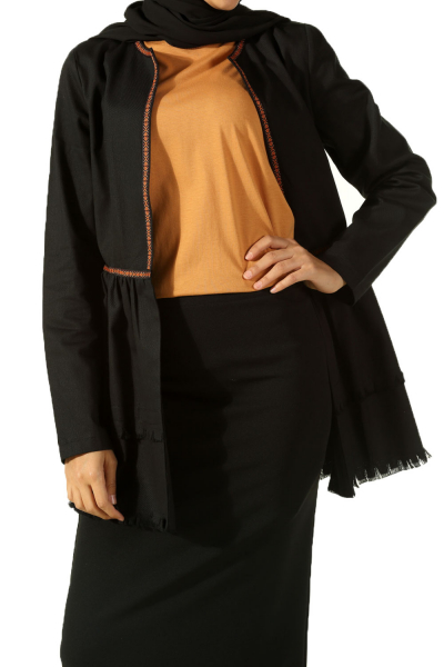 Doğal Kumaş Şeritli Ceket