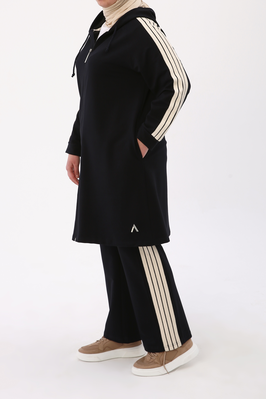 Plus Size Striped TrackSuit