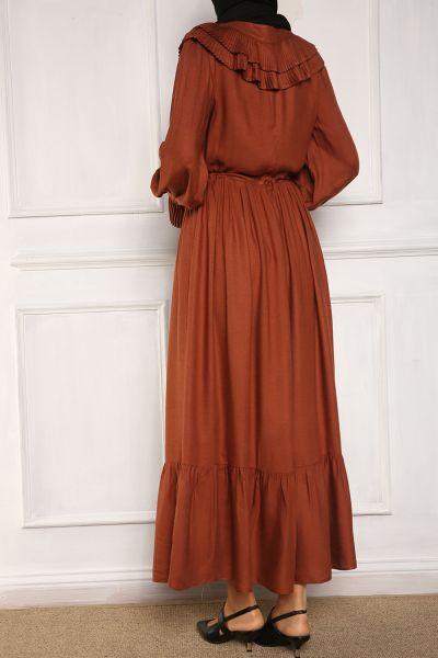 She Sea Yarım Patlı Yaka Detaylı Elbise