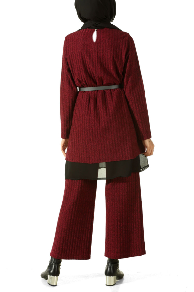 Garnish Chiffon Blouse Trousers Knitwear Double Suit