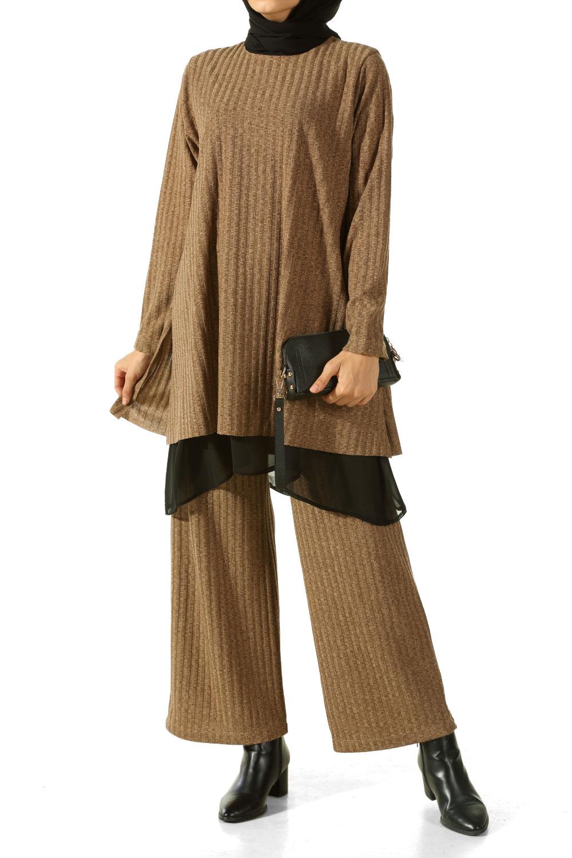 Garnisi Şifon Bluz Pantolon Triko İkili Takım