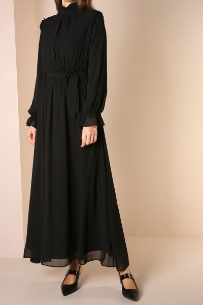 Şifon Kuşaklı Elbise
