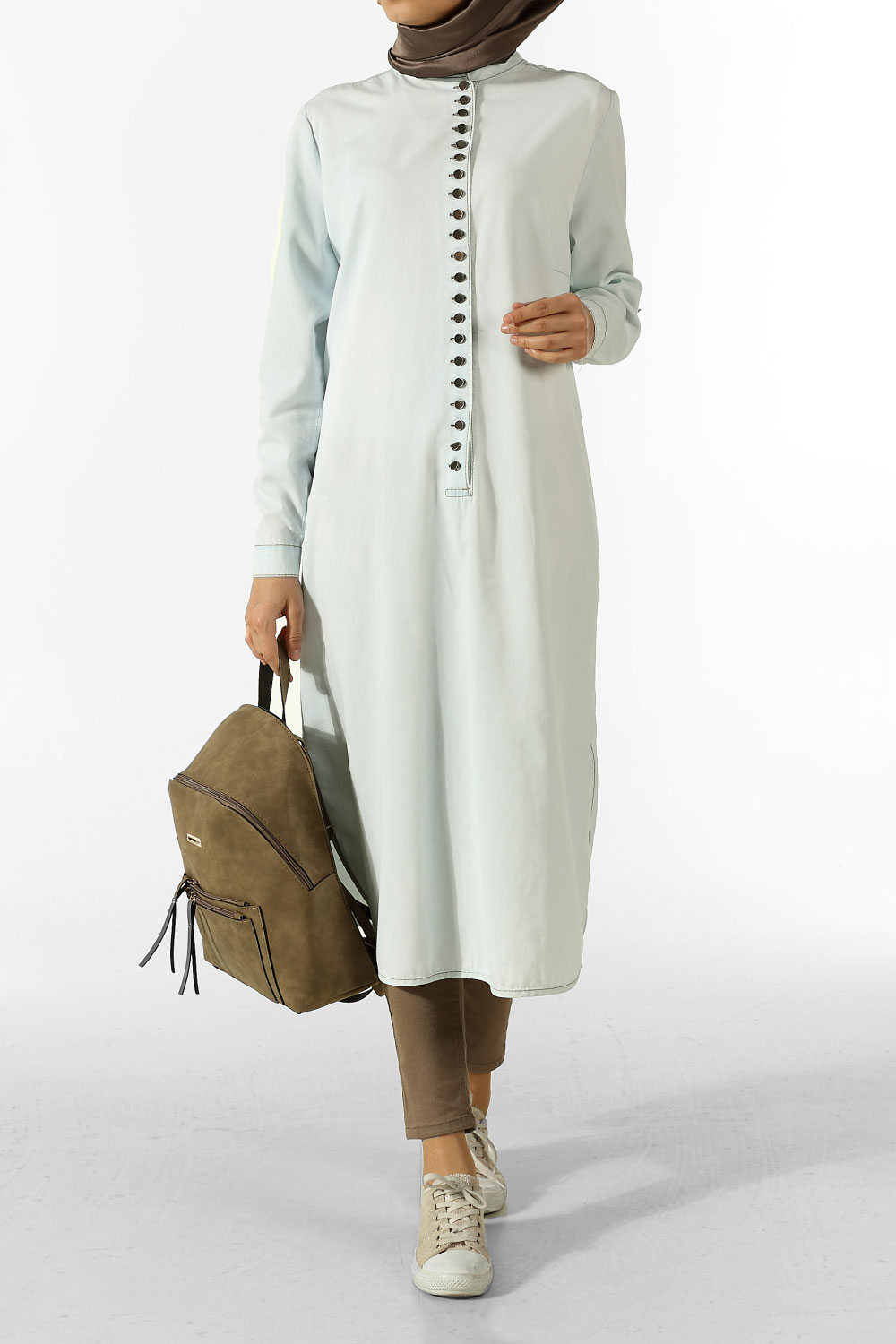 Plus Size Buttoned Tunic