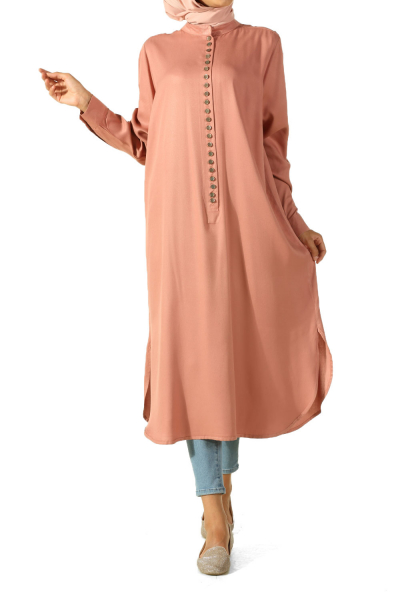 Plus Size Tunic With Frequent Button