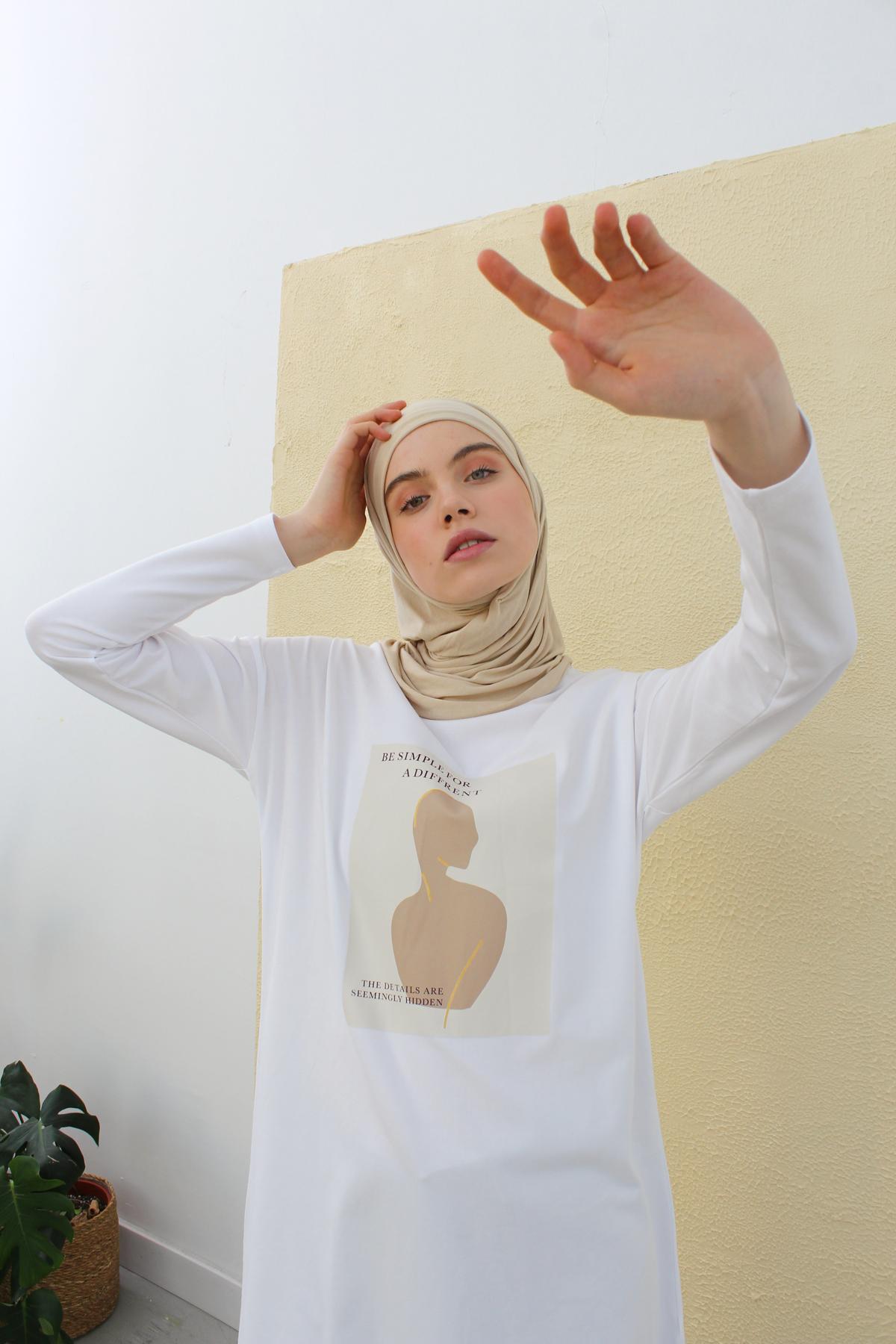 Long Sleeve Printed T-shirt Tunic