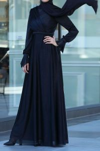 SILVERY HIJAB EVENING DRESS