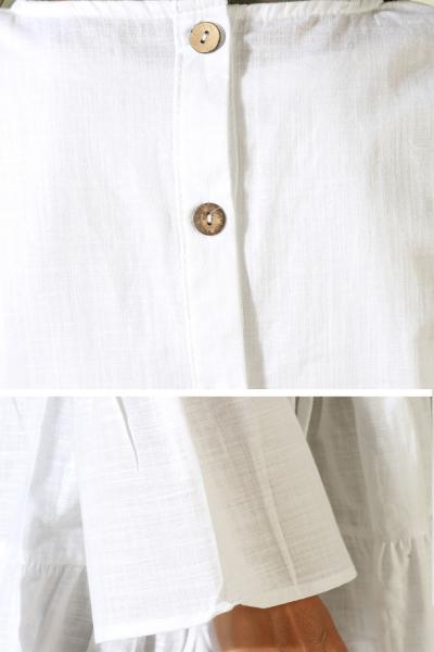 Sırtı Düğmeli Fırfırlı Tunik
