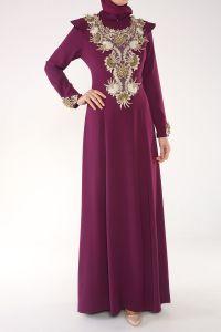 Som Fashion Boncuk İşleme Astarlı Abiye