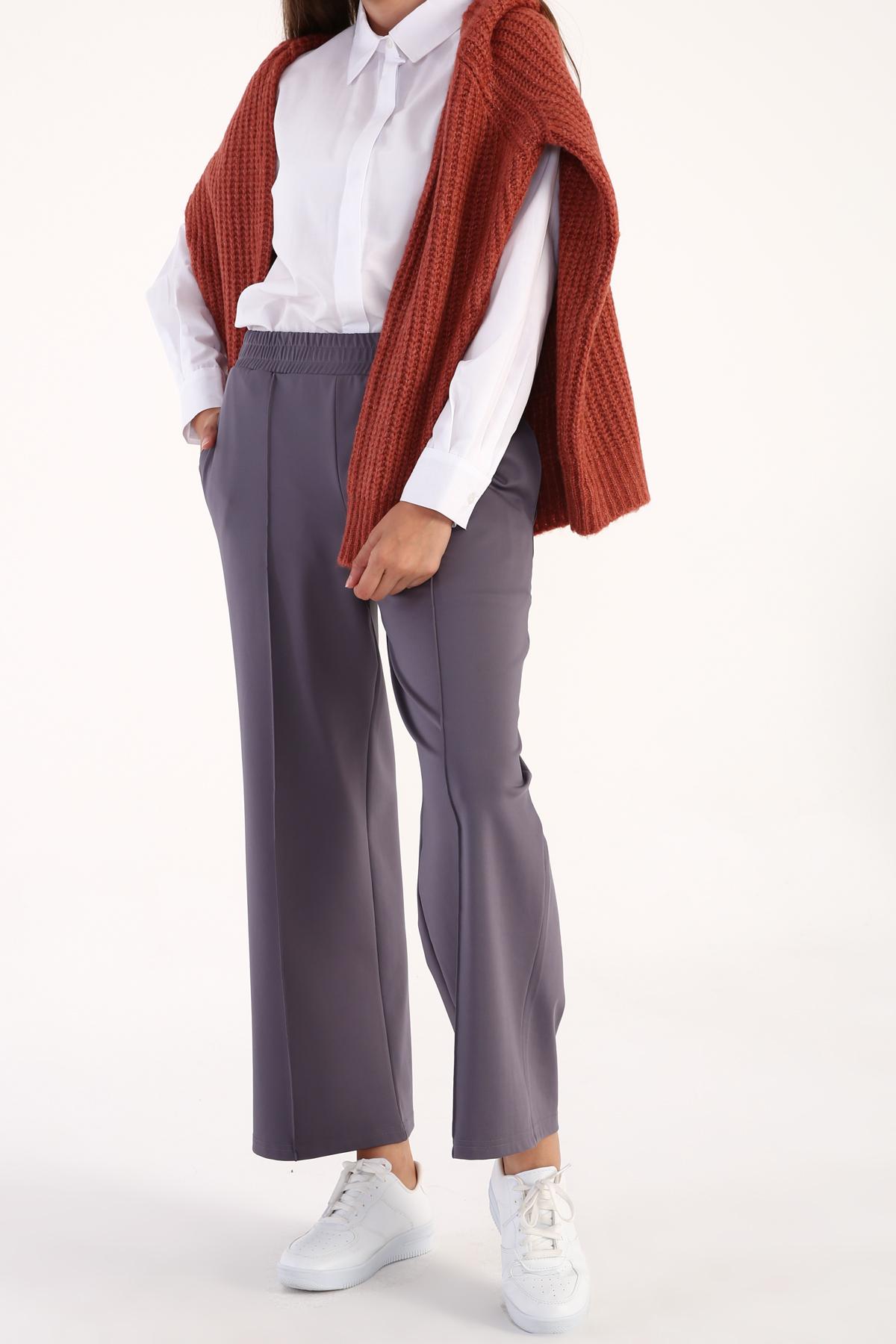 Elastic Waist Wide Leg Casual Pants