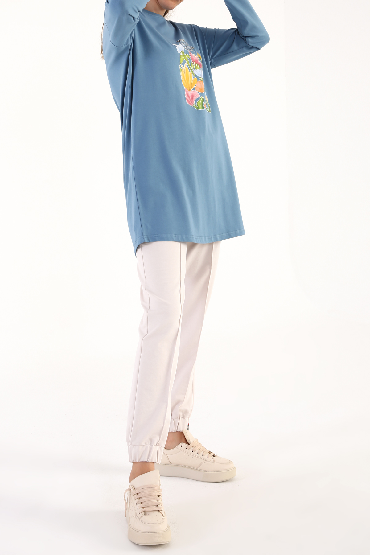 Comfy Summer Flowers Printed Long Sleeve T-Shirt Tunic