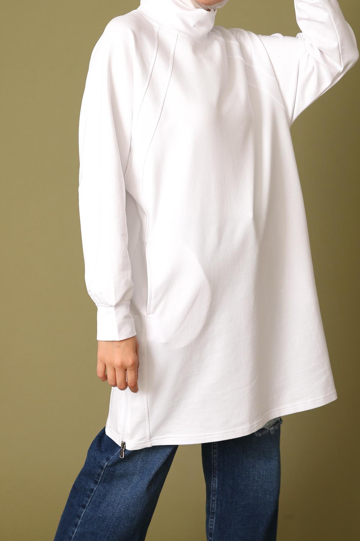 Zipper Slit Detailed Sweatshirt Tunic
