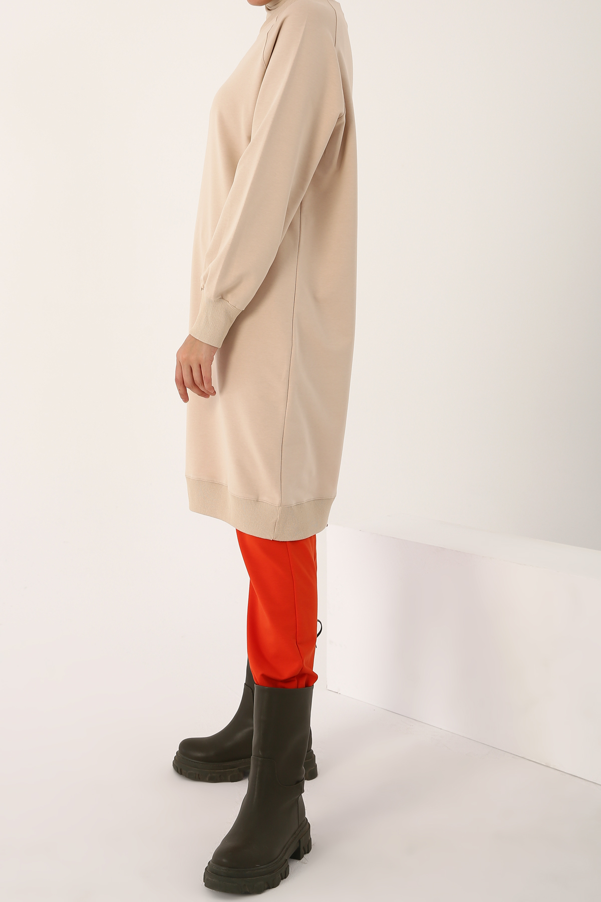 Sweat Tunic With Leather Appliqué