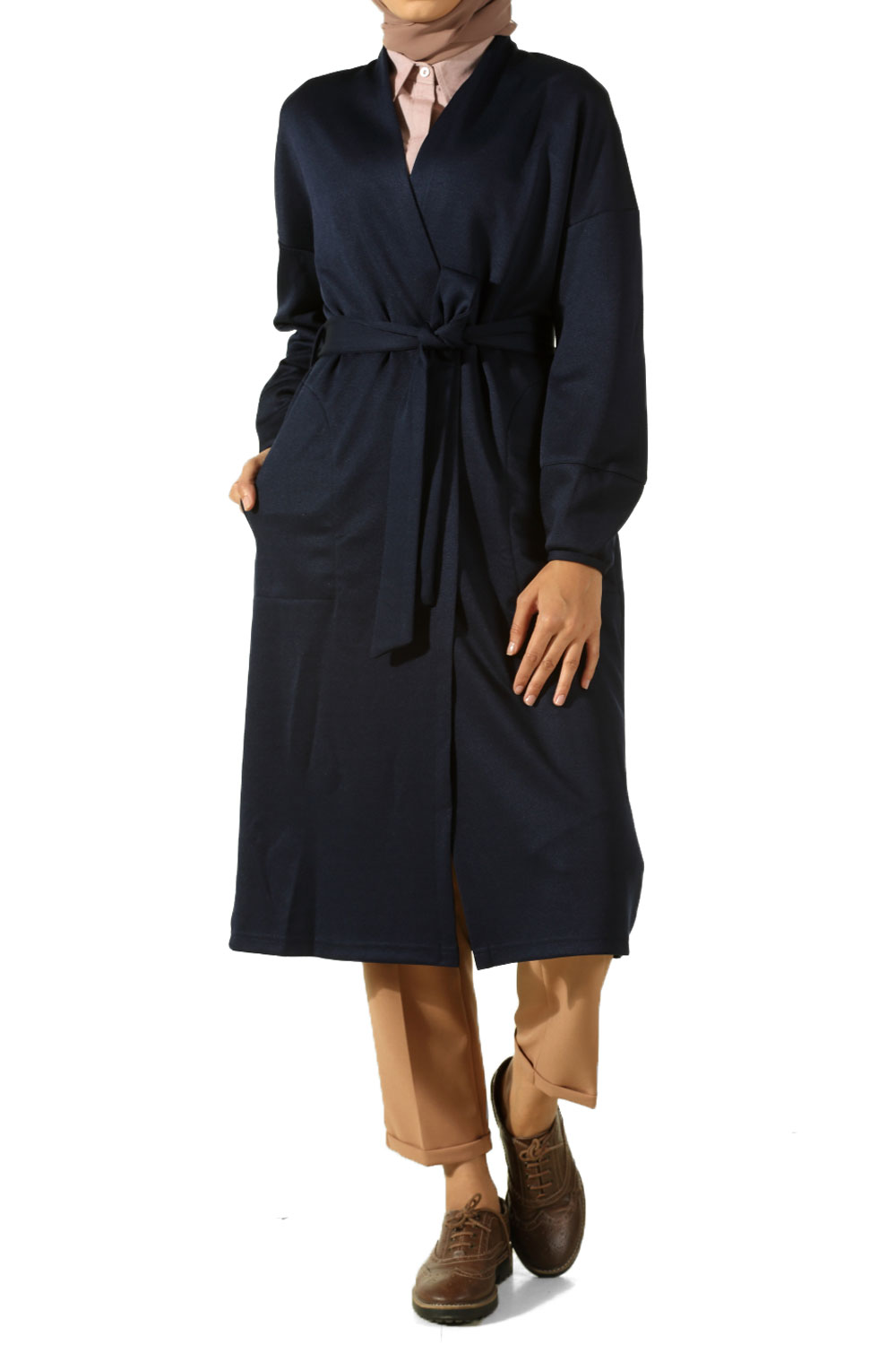 T Sleeve Belted Cardigan