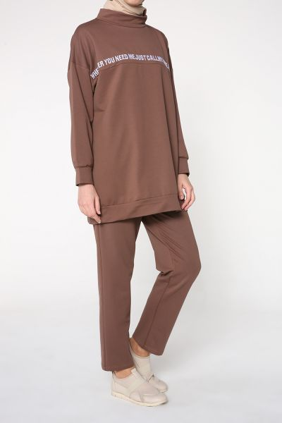 T-Sleeve Printed Hijab Suit With Pants