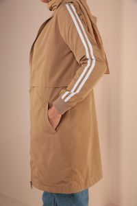 Striped Hooded Pocket Raincoat