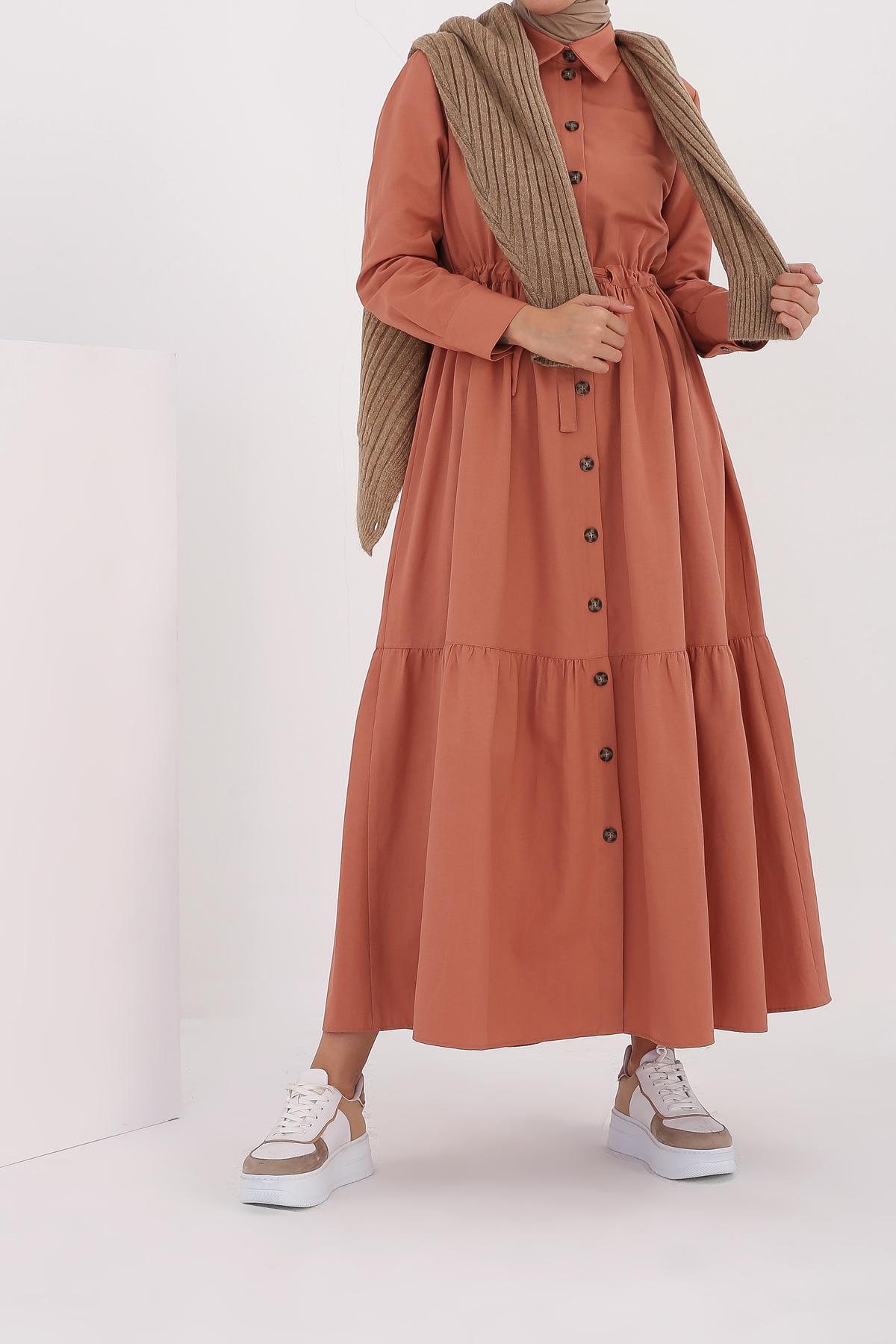 Button Front Drawstring Maxi Dress