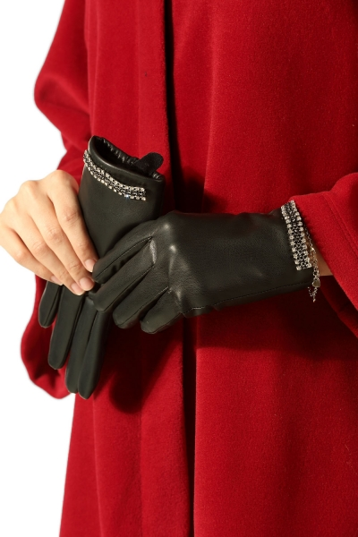 LEATHER GLOVES WITH STONE DETAIL