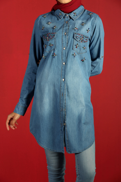 STONE DETAIL DENIM TUNIC