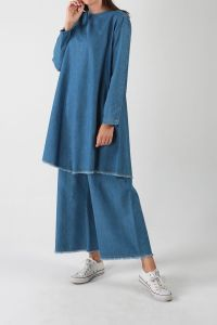 Tasseled Denim Hijab Suit