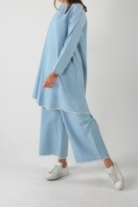 Tasseled Denim Hijab Suit With Pants