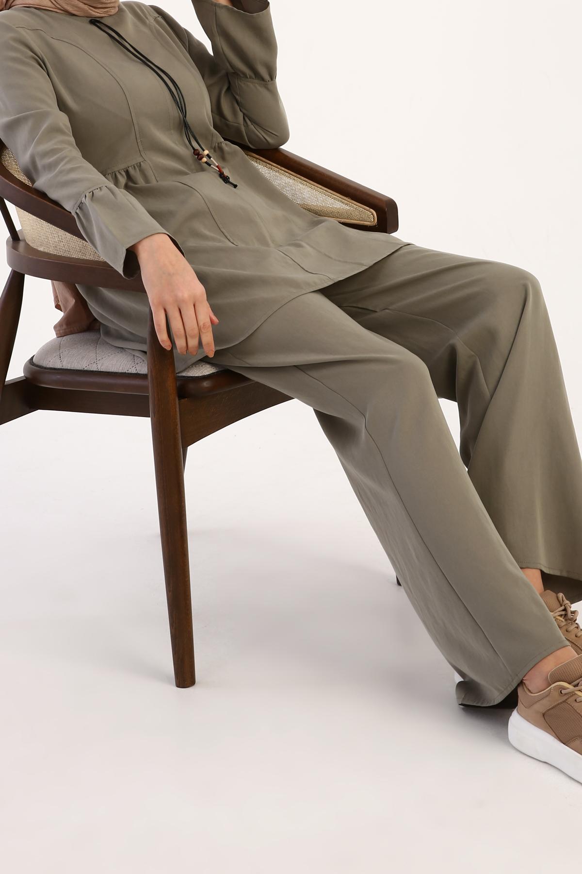 Tencel Flounce Sleeve and Hem Blouse Pants Set