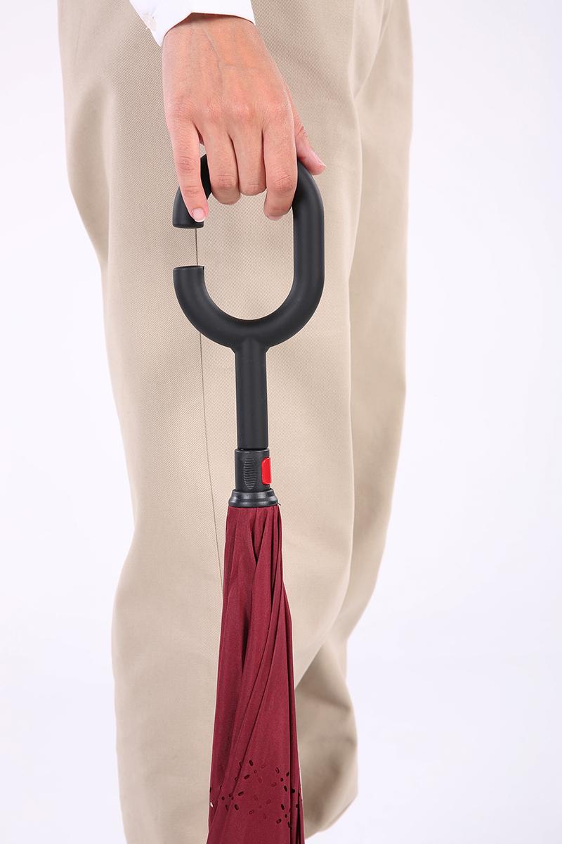 Ters Açılan Desenli Baston Şemsiye