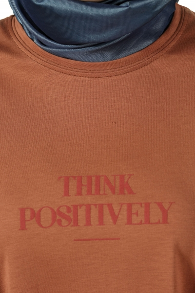 Think Positively Baskılı Penye Tunik