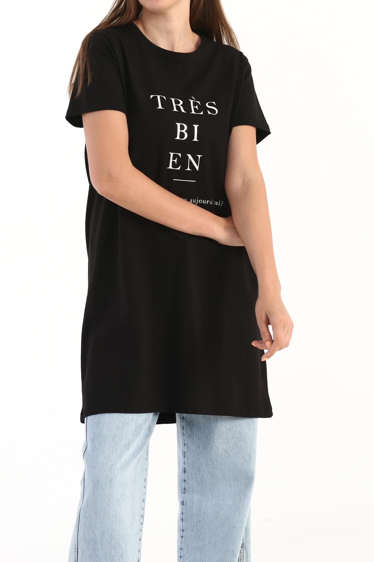 Slogan Print Short Sleeve T-shirt Tunic