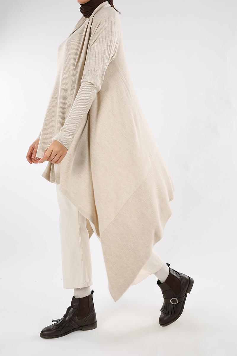 Asymmetric Knitwear Hijab Suit