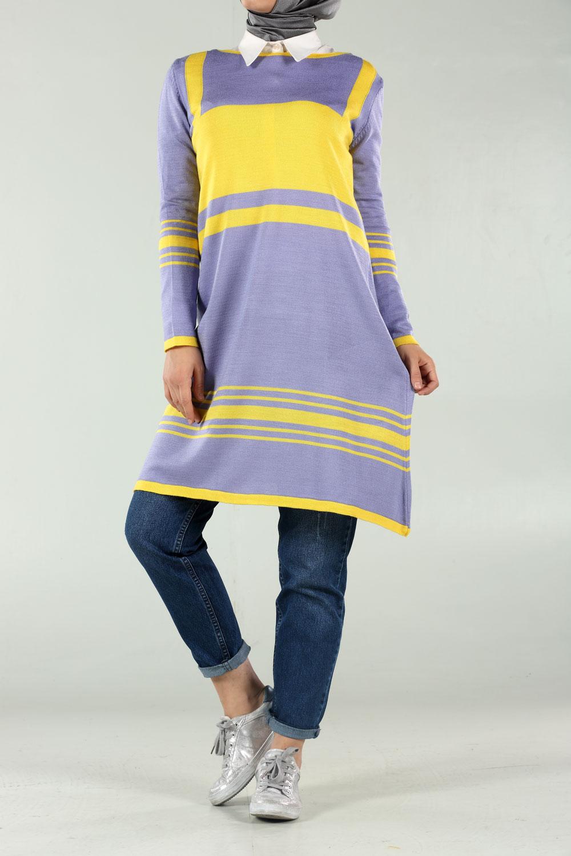 İki Renkli Triko Tunik