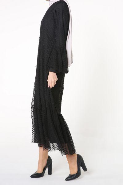 Tül Ponponlu Elbise